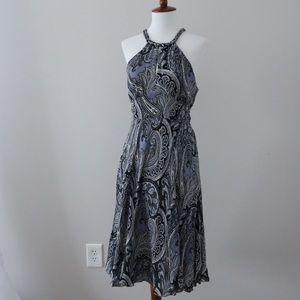 MICHAEL Michael Kors Blue White Paisley Silk Dress